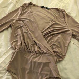 Boohoo Tan Plunge Bodysuit | Size XS